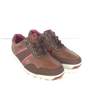 Footjoy 10 W Spikeless Brown Leather Golf Shoes